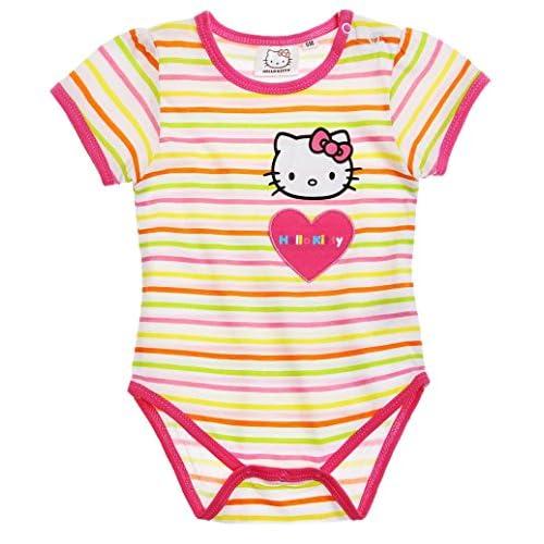 Body bébé fille manches courtes Hello kitty Rayé blanc rose de 3 à ... 8d6ac388e03