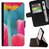 Flip Credit Card Slots PU Holster Leather Wallet Pouch Protective Skin Case Cover Samsung Galaxy S4 Mini i9190 (NOT S4) , ( Tulip Poppy Green Pink Spring Nature )