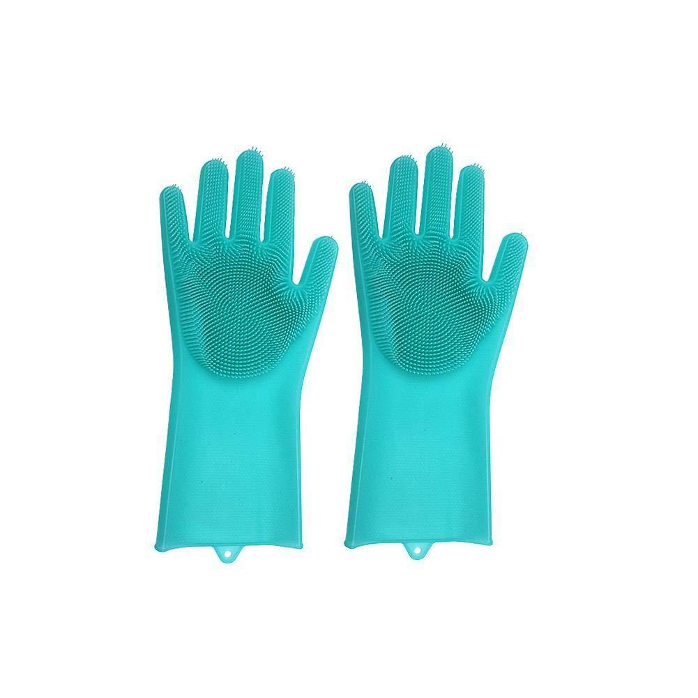 Flashcat New hot-Selling Silicone dishwashing Gloves dishwashing Brush Housework Gloves Non-Slip Insulation wear-Resistant Kitchen Gloves. (Yellow)