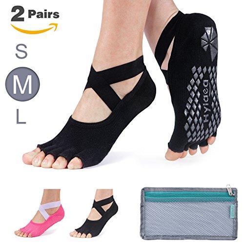 Hylaea Yoga Socks for Women, Non Slip Grip Socks for Pilates, Ballet, Barre, Bikram, Studio, Workout (Black/Watermelon Red, Small/Medium (Women's shoe 6-11))