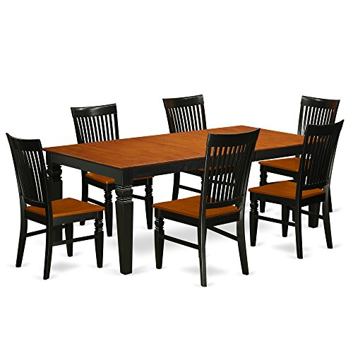 East West Furniture LGWE7-BCH-W Logans, 7 Pieces, Black And Cherry
