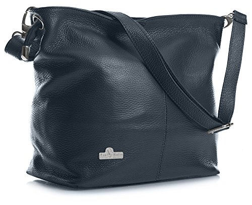 Adal with Storage Deep LiaTalia Navy Shoulder Genuine Bag Womens Medium Protective Bag Leather Hobo Italian q8U7AqRw