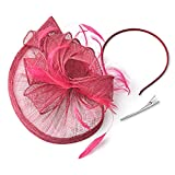 FENTORY Fascinators for Women Sinamay Wedding Hats Tea Party Headband (Rose)