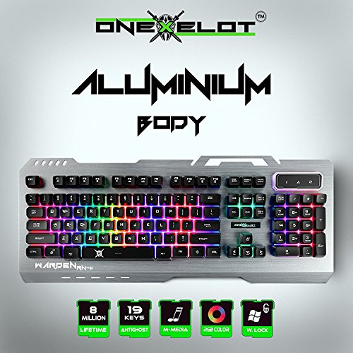 ONEXELOT Gaming Keyboard Aluminum Led Backlight USB Wired Best Keyboard Game with 19 Anti-Ghosting Keys for Windows and Mac (Silver) mod Warden (Best Way To Ask For A Raise)
