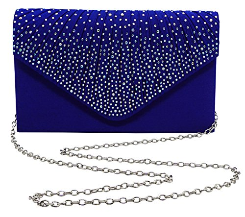 (Bienvenu Women Ladies Large Evening Satin Bridal Diamante Ladies Clutch Bag Party Prom,Blue_style 2)