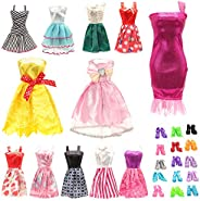 BM 22 pcs Barbi Doll Clothes and Accessories 10 pcs Party Dresses Gowns with 10 Shoes for 11.5 inch Doll