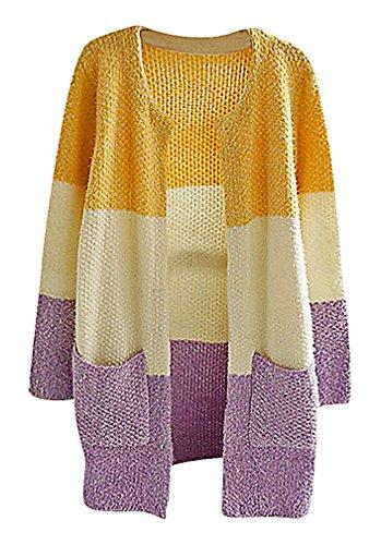 Maze, Women's Fuzzy Panelled Pocketed Long Sleeve Crew Neck Boyfriend Cardigan, 2 One Size (Gold Crochet Cardigan)