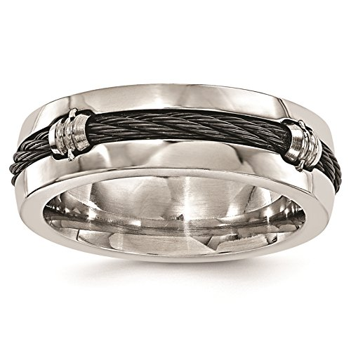 Titanium & Cable Polished 7mm Wedding Ring Band Size 8 by Edward Mirell by Venture Edward Mirell Titanium Bands (Image #1)
