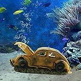 boxtech Aquarium Resin Ornament Decorations, Imitation Car Wreck for Air Bubble Stone Oxygen Pump Fish Tank Creative a Underwater Landscape Decor
