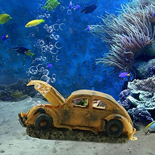 boxtech Aquarium Resin Ornament Decorations, Imitation Car Wreck for Air Bubble Stone Oxygen Pump Fish Tank Creative a Underwater Landscape Decor -