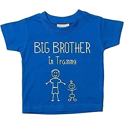 Big Brother In Training Blue Tshirt Baby Toddler Kids Available in Sizes from 0-6 Months to 14-15 Years New Baby Brother 60 Second Makeover Limited