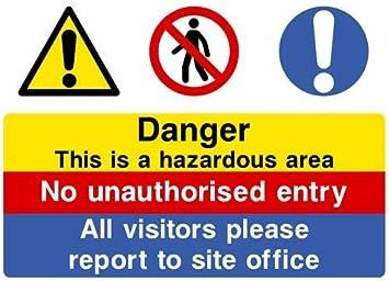 1x Hazardous Area No Unauthorised Entry Warning Danger Vinyl Sticker for Door