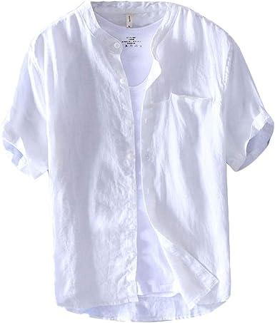 Hombre Casual Camisa, Basica Camiseta De Lino con Cuello Mao Manga Corta T Shirts Tops: Amazon.es: Ropa y accesorios