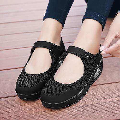 aeepd Women Nurse Shoes Walking Slip On Sneakers Mary Jane Velcro Breathable Mesh Platform Rocker Bottom Black