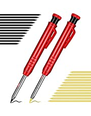 YiYLunneo 2PCS Solid Carpenter Pencil with Sharpener and Leads Mechanical Pencils for Wood Flooring Marker Carpenters Drawing Scriber Woodworking Architect with 14 Refills Built-in Sharpener Pencils