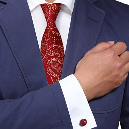 Y&G YABB0030 Red Light Yellow Paisley Various For Boyfriend Woven Jacquard Silk Tie Possibly For Bridegrooms Neck Tie