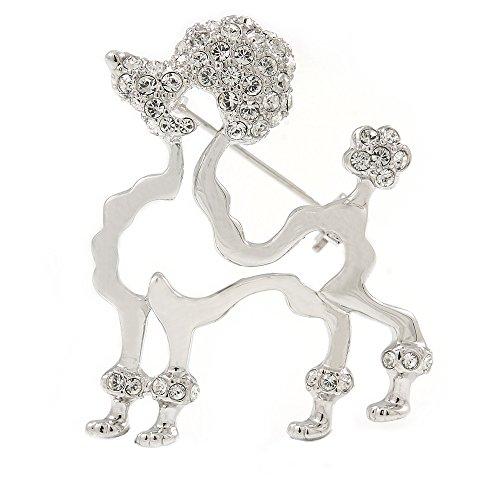 Avalaya Rhodium Plated Open Cut Crystal Poodle Dog Brooch - 35mm W