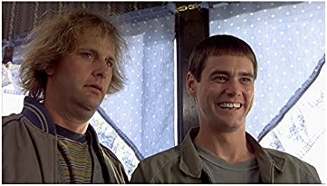 Dumb Dumber 1994 8inch X 10inch Photo Jim Carrey Jeff Daniels In Front Of Blue Curtained Windows Kn At Amazon S Entertainment Collectibles Store