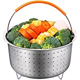 Steamer Basket for 6 or 8 QT Instant Pot/Pressure Cooker Accessories, Sturdy Stainless Steel Strainer Steamer Insert with Premium Silicone Handle, Perfect for Steaming Veg, Meats and Eggs
