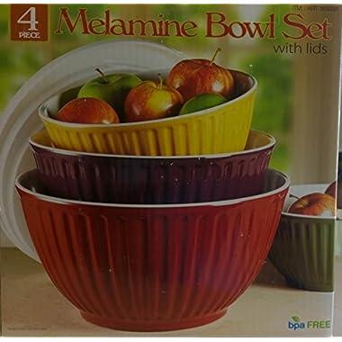 Melamine Bowl Set With Lids (4 Bowls)