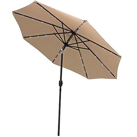 Sunnydaze Solar Powered LED Lighted Patio Umbrella With Tilt U0026 Crank, 9  Foot, Beige