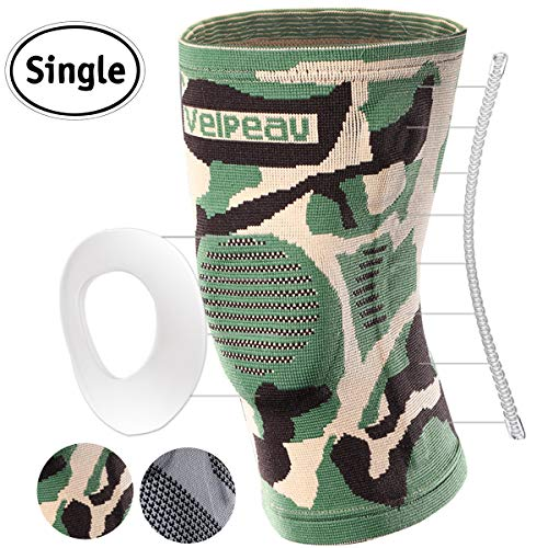 Velpeau Knee Brace - Best Knee Support with Patella Gel Pads & Side Stabilizers - Compression Sleeve Stabilization of The Knee, Provides Relief of Pain, Weak, Swollen & Injured Knees - Camouflage, L