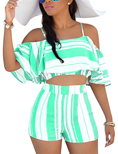 Jean 2 Piece Pants Outfit - Vilover Women Crop Top Shorts Set Summer 2 Pieces Outfits Sexy Off Shoulder Strapped Rompers Jumpsuits Playsuits