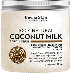 Body Scrub Sweet Coconut Milk 100% Natural 12 oz. Powerful Exfoliator and Moisturizer With Dead Sea Salt, Almond Oil and Vitamin E By Buena Skin