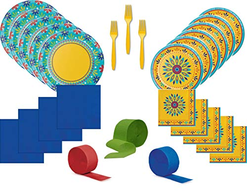 Spring Summer Southwest Fiesta Party Supply Bundle for 16 Guests - Includes Plates, Napkins, Forks and Streamers -