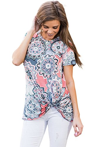 New boho stampato manica corta Annodato camicetta estate camicia top casual Wear taglia UK 10EU 38