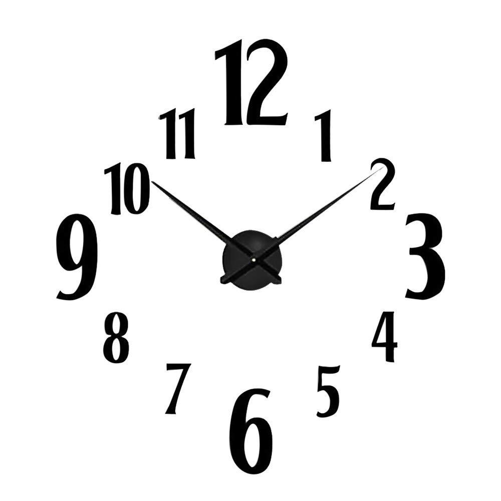 3D DIY Wall Clock,FIN86 Square Modern Frameless Large 3D DIY Wall Clock Kit Decoration Home for Living Room Bedroom (Black)