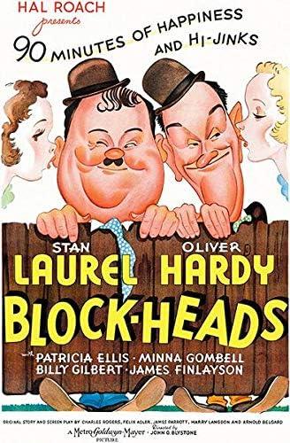 Amazon.com: Block-Heads - Laurel & Hardy - 1938 - Movie Poster: Posters &  Prints