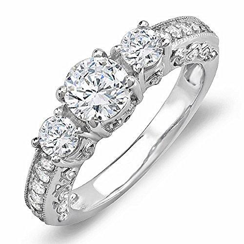 Dazzlingrock Collection 0.75 Carat (Ctw) 14k Round Diamond Ladies Bridal Semi Mount Engagement Ring (No Center Stone), White Gold, Size 7