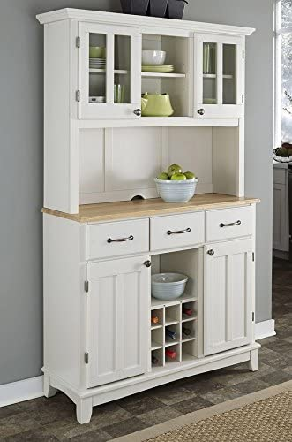 Amazon Com Home Styles Buffet Of Buffets White Server With Natural Wood Top And Hutch Buffets Sideboards