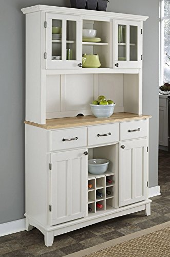 Wood China Cabinet - Buffet of Buffets White with Natural Wood Top with Hutch by Home Styles