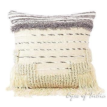 Amazon Eyes Of India 40 White Black Decorative Woven Tufted Custom Decorative Tassel Pillows