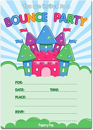 30 Bounce House Birthday Invitations with Envelopes (30 Pack) - Kids Birthday Party Invitations for Boys or Girls