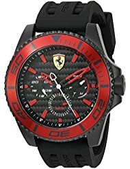 Scuderia Ferrari Mens XX Kers Quartz Stainless Steel and Silicone Casual Watch, Color:Black (Model: 0830310)