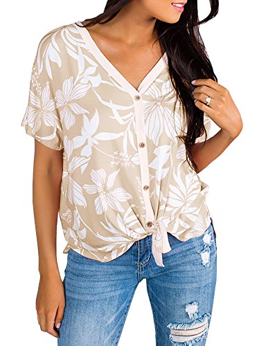 Sysea Womens Button Down Knot Front Shirt Summer Tropical Hawaiian V Nevk Short Sleeve Tops Khaki -