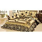 Tache Home Fashion BM6182-S 4 Piece Jungle Dreams Comforter Set, Single, Gold, Black, Floral