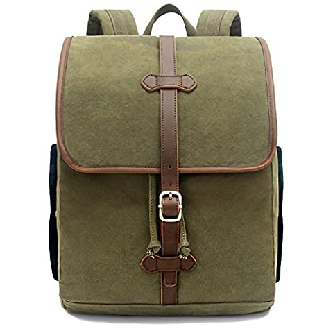 EverVanz Outdoor Canvas Leather Backpack, Travel Hiking Camping Rucksack Pack,