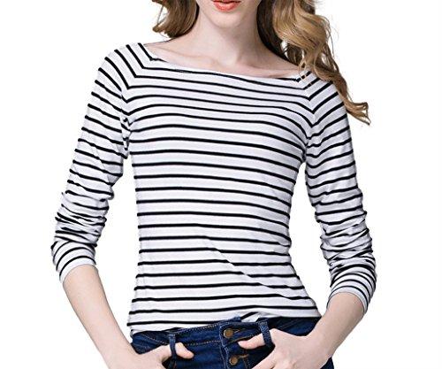 WSLCN Womens Casual T-Shirt Long Sleeve Boat Neck Stripe Basic Tee Slim White US XL (Asian 4XL)