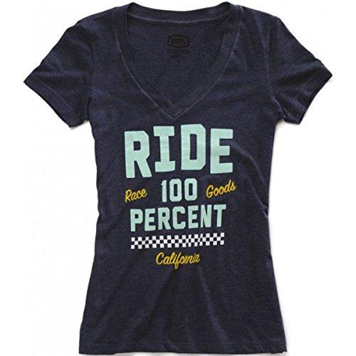100% Girls Tracker V-Neck Short-Sleeve Shirt Small Navy Heather