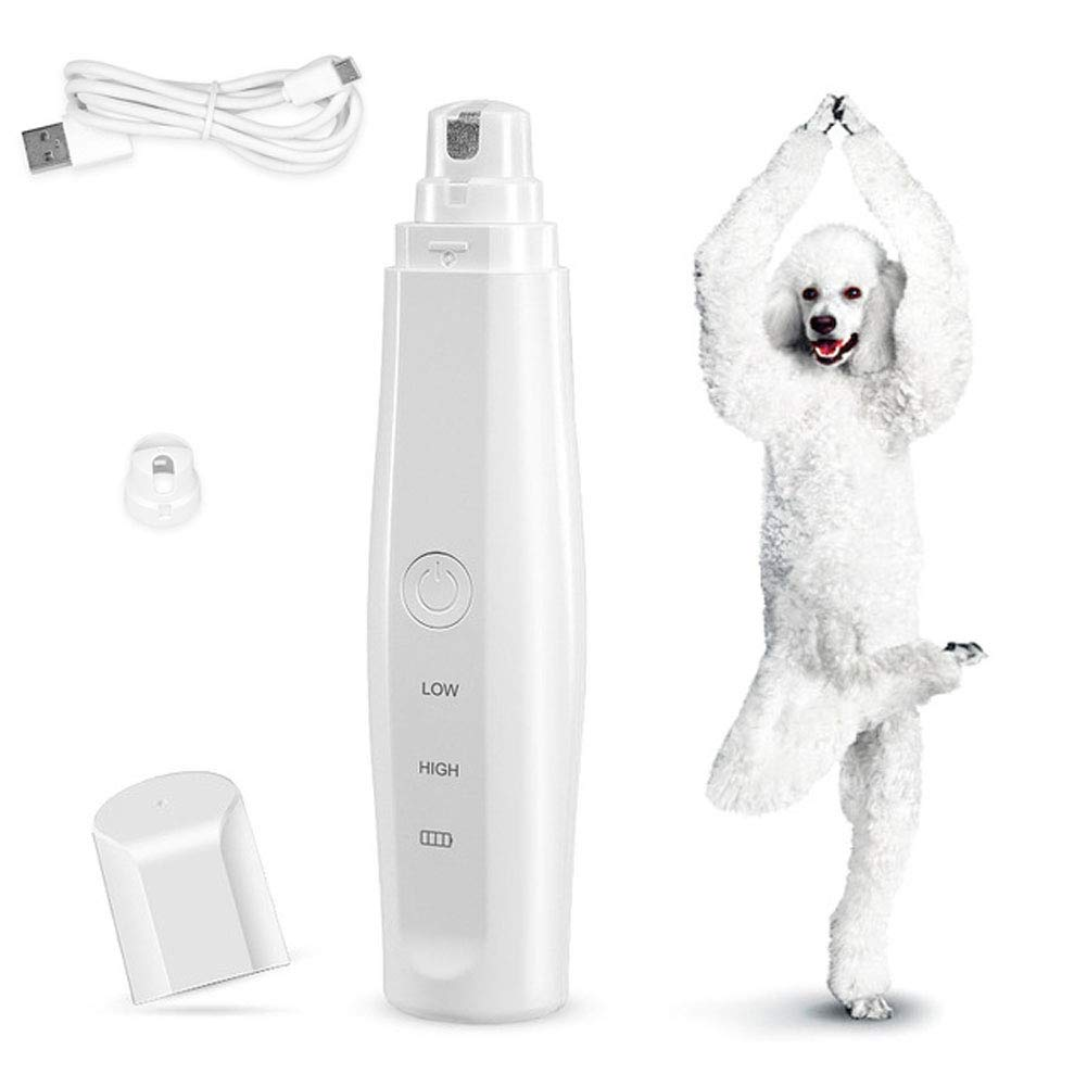 2 Speeds Pet Nail Grinder, USB Charging Portable Electric Paw Trimmer Clipper, Gentle Painless Paws Beauty Tools for Small Medium Large Dogs Cats - ABS Material