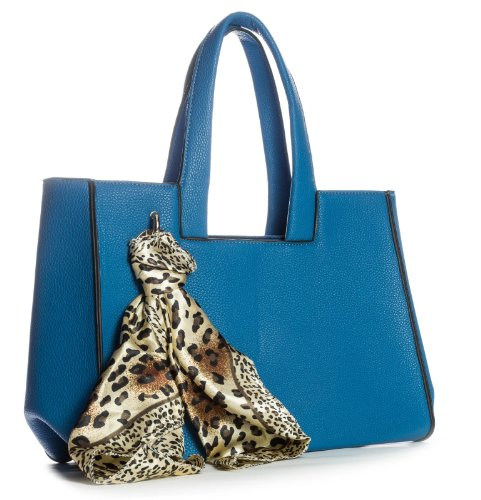 BHBS Bolso de Hombro para Dama tipo Satchel en Imitación Piel con Detalle de Pañuelo para Cuello 33x28x15 cm (LxAxP) Azul