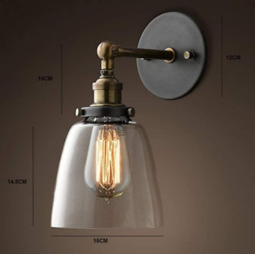 LIUJINHAI Retro Wandlampe aus Glas Wand industrielle Wand Lampe