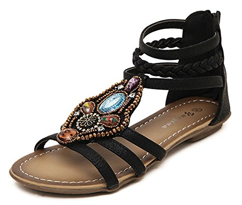 SHOWHOW Womens Retro Rhinestone Cut Out Woven Ankle Strap Flats Shoes Black IGlDeX