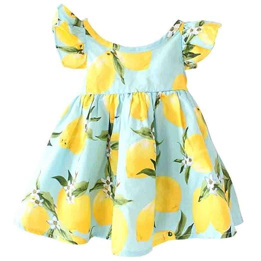 ffd2a2b99cb23 Baby Girls Dress Lemon Floral Sleeveless Sundress Infant Princess Summer  Vest Dress