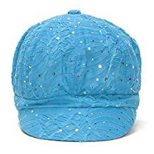 Women's Glitter Sequin Trim Newsboy Style Relaxed Fit Hat Cap - Turquoise