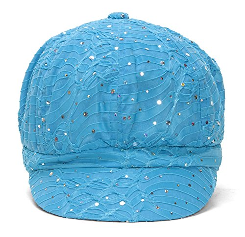 Sequin Newsboy Hat Cap - TOP HEADWEAR Women's Glitter Sequin Trim Newsboy Style Relaxed Fit Hat Cap - Turquoise